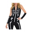 Zipper Front Sleeveless Skeleton Printed Skinny Jumpsuit