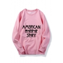 AMERICAN Letter Printed Round Neck Long Sleeve Pullover Sweatshirt