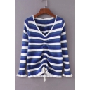 Drawstring Front Striped Printed V Neck Long Sleeve Ribbed Sweatshirt