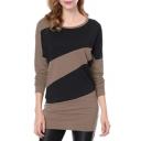 Color Block Round Neck Long Sleeve Slim Mini T-Shirt Dress