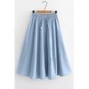 Plain Drawstring Waist Midi A-Line Denim Skirt