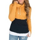 Color Block Slim Long Sleeve Hooded Tee
