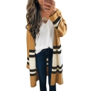 Color Block Striped Printed Collarless Open Front Tunic Cardigan
