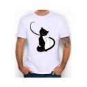 Cartoon Cat Printed Round Neck Short Sleeve Slim T-Shirt