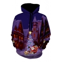 Fancy Cartoon Christmas Printed Long Sleeve Hoodie
