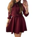 Bow Tie Collared Long Sleeve Plain Elastic Waist Mini A-Line Dress