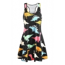 Dinosaur Printed Round Neck Sleeveless Midi A-Line Dress