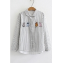 Cartoon Embroidered Striped Printed Long Sleeve Lapel Collar Button Front Shirt