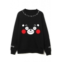 Korean Star Suga Cartoon Letter Printed Round Neck Long Sleeve Sweatshirt