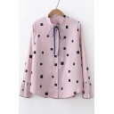 Square Printed Stand Collar Long Sleeve Button Front Pleated Detail Cuffs Shirt