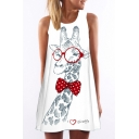 Glasses Giraffe Letter Printed Sleeveless Round Neck Mini A-Line Dress