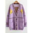Letter Squirrel Pattern V Neck Long Sleeve Button Front Tunic Cardigan