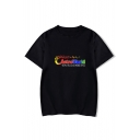 Colorful Letter Star Printed Round Neck Short Sleeve T-Shirt