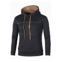 Contrast Piping Front Slim Long Sleeve Hoodie for Men