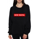 NEW DIGITAL Letter Graphic Printed Round Neck Long Sleeve Sweatshirt