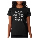 DOG MOTHER Letter Printed Round Neck Short Sleeve T-Shirt