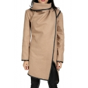 Contrast Leather Trim High Neck Long Sleeve Asymmetric Coat