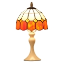 Geometrical Patterned Tiffany Colored Glass Shade Table Lamp with White Metal Base
