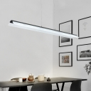 Contemporary Simple Style Led Island Pendant Lighting Acrylic Arched Linear Chandelier in Black with Adjustable Cord for Commercial Office Workbench Study Room