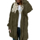 Faux Fur Plain Long Sleeve Open Front Warm Hooded Coat