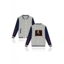 Letter Character Printed Back Color Block Long Sleeve Button Down Baseball Jacket