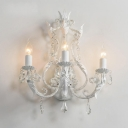 3-Light Crystal Accent Style Wall Sconce Lamp in Gray/White for Small Living Room