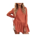 Plain Round Neck Long Sleeve Pleated Hem Mini A-Line Dress