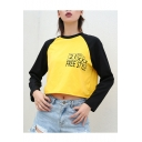 Color Block Round Neck Letter Printed Long Sleeve Crop T-Shirt