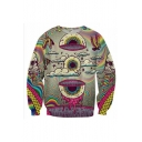Eye Skull Printed Round Neck Long Sleeve Sweatshirt