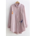 Cat Embroidered Striped Printed Button Up Lapel Collar Long Sleeve Tunic Shirt