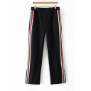 Elastic Waist Contrast Striped Side Vented Hem Straight Pants