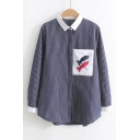 Lapel Collar Striped Printed Long Sleeve Fished Applique Button Up Shirt