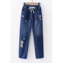 Animal Triangle Embroidered Drawstring Waist Straight Jeans
