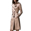 Notched Lapel Collar Slim Plain Long Sleeve Double Breasted Tunic Trench Coat