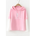 A NEW ONE Letter Embroidered Color Block Layered Long Sleeve Hoodie