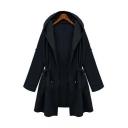 Drawstring Waist Plain Long Sleeve Hooded Coat