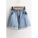 High Waist Plain Roll Cuff Chic Denim Shorts