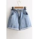 High Waist Plain Roll Cuff Chic Denim Shorts