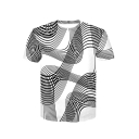 3D Wave Printed Round Neck Short Sleeve T-Shirt
