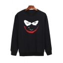 Smile Face Printed Long Sleeve Round Neck Sweatshirt