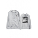 Korean Star Taehyung Letter Heart Printed Long Sleeve Zip Up Hoodie