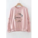 BLOOM Letter Floral Embroidered Round Neck Long Sleeve Sweatshirt