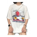 Letter Cartoon Duck Printed Round Neck Short Sleeve T-Shirt