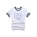 Contrast Trim Letter Graphic Printed Round Neck Short Sleeve Tee