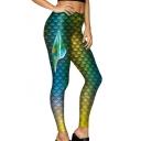 3D Fish Scale Printed Elastic Waist Skinny Leggings