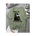 Funny HELLO Letter Dog Printed Round Neck Short Sleeve Tee
