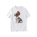 Solider Dog Printed Round Neck Short Sleeve T-Shirt