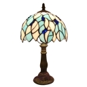 Leaves Patterned Tiffany Glass Shade Table Lamp with Brilliant Blue Beads Decor