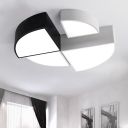 Simple Modern Style Super Bright White Light Led Quadrant Flush Mount Lighting 8-16W Energy-Saving Geometric Ceiling Light in Black/White Can be Spliced Support Free Combination 4 Size Available