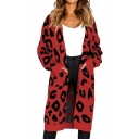 Leopard Printed Collarless Long Sleeve Open Front Tunic Cardigan